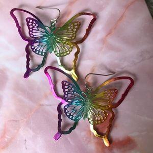 Vintage rainbow butterfly earrings